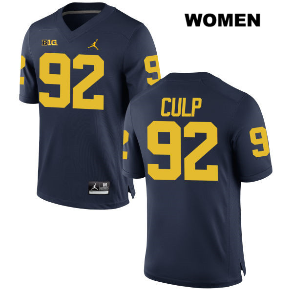 Michigan Wolverines Adam Culp Womens Stitched no. 92 Jordan Navy Authentic College Football Jersey - Adam Culp Jersey