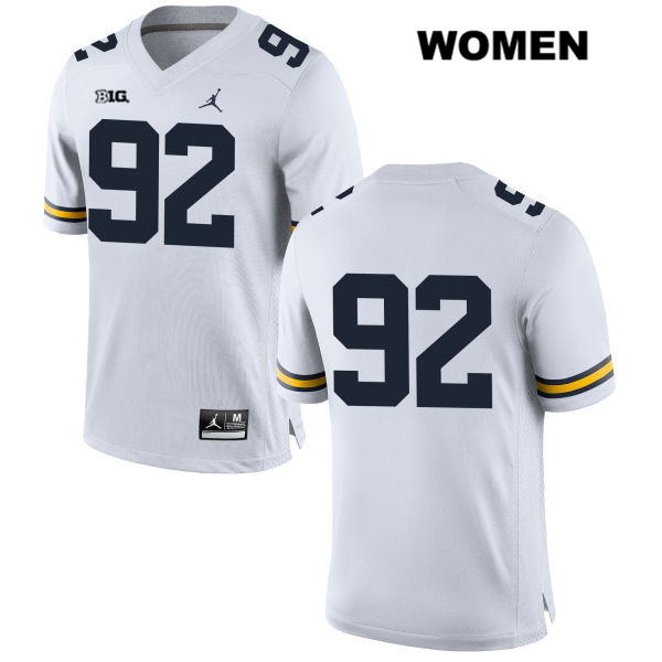 Michigan Wolverines Adam Culp Womens Stitched no. 92 Jordan White Authentic College Football Jersey - No Name - Adam Culp Jersey
