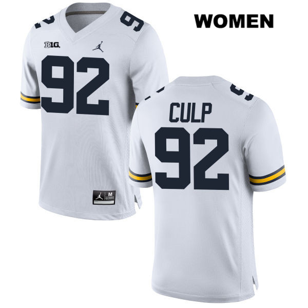 Jordan Michigan Wolverines Adam Culp Womens no. 92 Stitched White Authentic College Football Jersey - Adam Culp Jersey