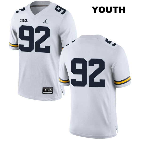 Michigan Wolverines Adam Culp Youth no. 92 Jordan White Stitched Authentic College Football Jersey - No Name - Adam Culp Jersey