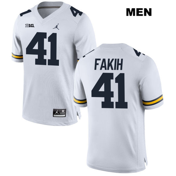 Jordan Michigan Wolverines Stitched Adam Fakih Mens no. 41 White Authentic College Football Jersey - Adam Fakih Jersey