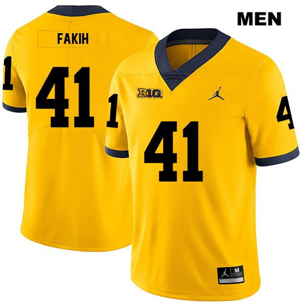 Jordan Michigan Wolverines Stitched Adam Fakih Mens no. 41 Yellow Legend Authentic College Football Jersey - Adam Fakih Jersey