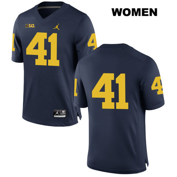 Jordan Michigan Wolverines Adam Fakih Womens no. 41 Stitched Navy Authentic College Football Jersey - No Name - Adam Fakih Jersey