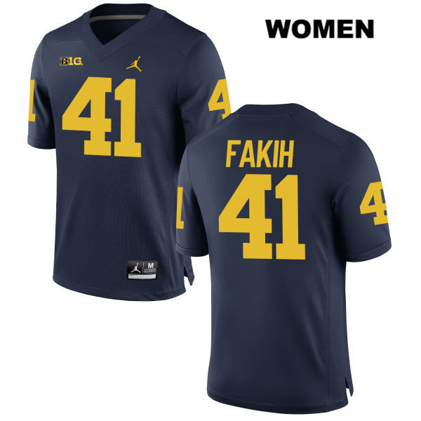 Michigan Wolverines Adam Fakih Stitched Womens no. 41 Jordan Navy Authentic College Football Jersey - Adam Fakih Jersey