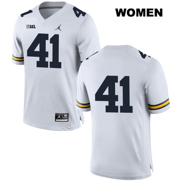 Michigan Wolverines Stitched Adam Fakih Womens no. 41 White Jordan Authentic College Football Jersey - No Name - Adam Fakih Jersey