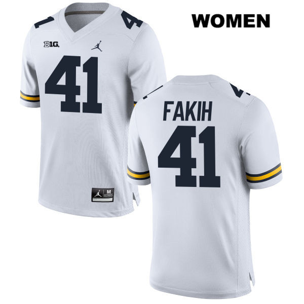 Michigan Wolverines Adam Fakih Womens Jordan no. 41 Stitched White Authentic College Football Jersey - Adam Fakih Jersey