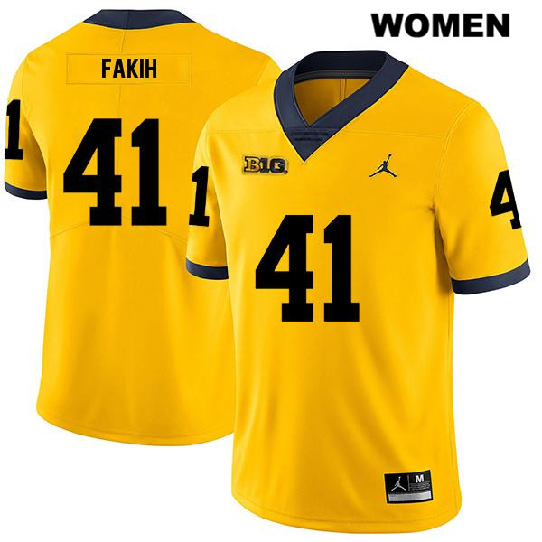 Michigan Wolverines Jordan Adam Fakih Stitched Womens Legend no. 41 Yellow Authentic College Football Jersey - Adam Fakih Jersey