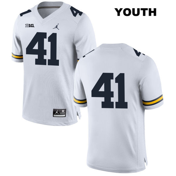 Michigan Wolverines Adam Fakih Stitched Youth no. 41 Jordan White Authentic College Football Jersey - No Name - Adam Fakih Jersey