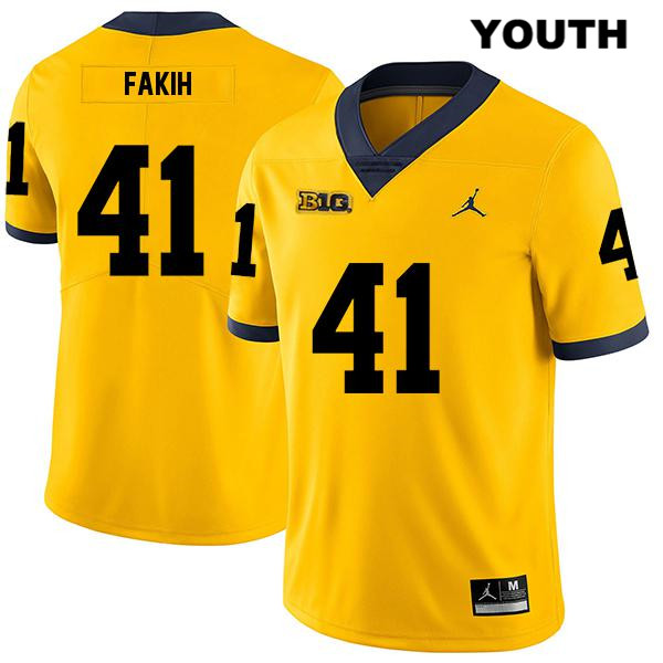Michigan Wolverines Adam Fakih Legend Youth Jordan no. 41 Stitched Yellow Authentic College Football Jersey - Adam Fakih Jersey