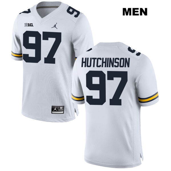 Michigan Wolverines Jordan Aidan Hutchinson Stitched Mens no. 97 White Authentic College Football Jersey - Aidan Hutchinson Jersey