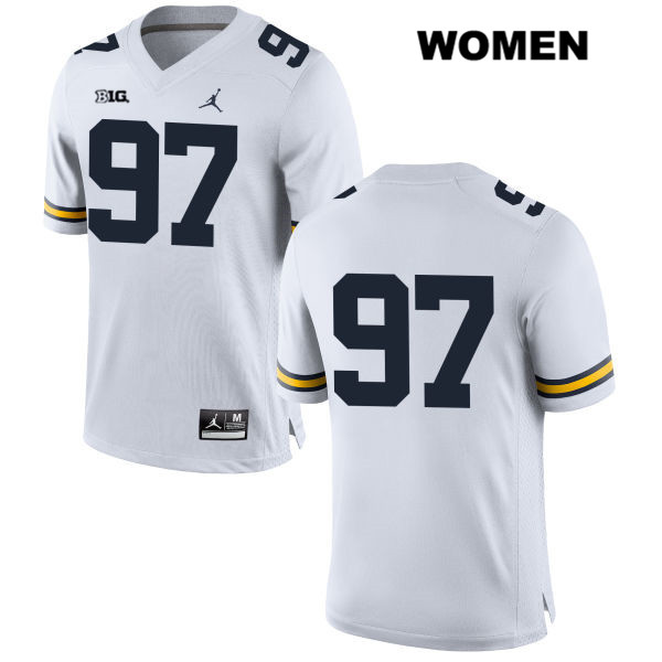 Michigan Wolverines Aidan Hutchinson Womens Jordan no. 97 White Stitched Authentic College Football Jersey - No Name - Aidan Hutchinson Jersey