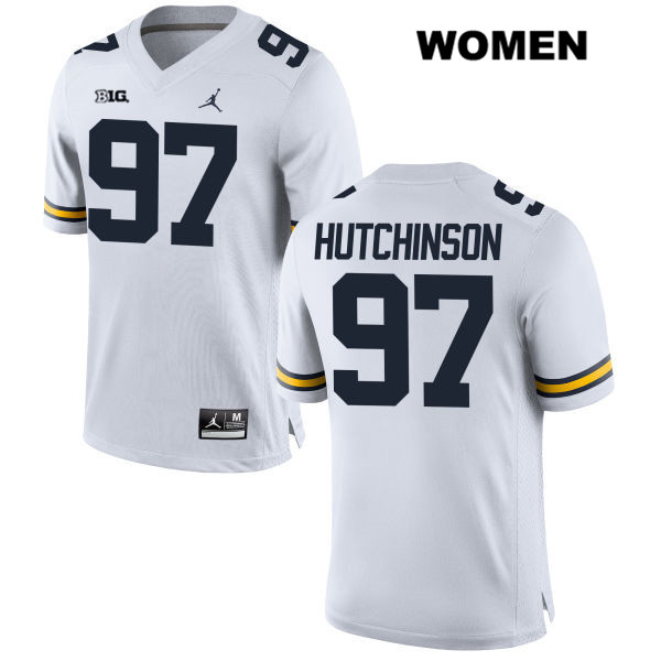 Michigan Wolverines Jordan Aidan Hutchinson Womens Stitched no. 97 White Authentic College Football Jersey - Aidan Hutchinson Jersey