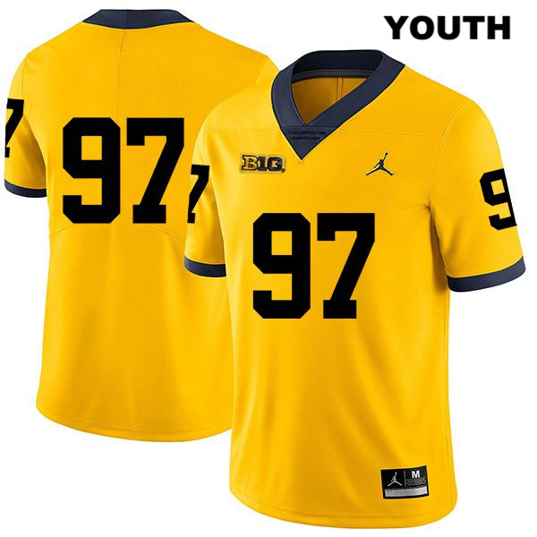 Michigan Wolverines Stitched Aidan Hutchinson Youth Jordan Legend no. 97 Yellow Authentic College Football Jersey - No Name - Aidan Hutchinson Jersey