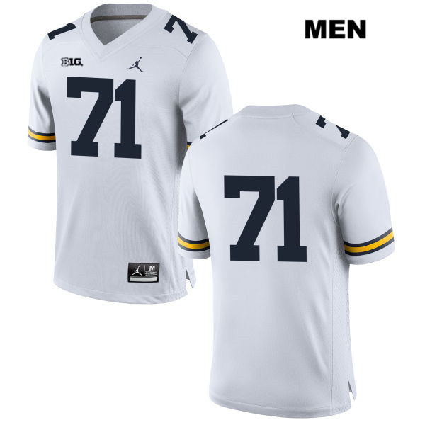 Jordan Michigan Wolverines Andrew Stueber Mens no. 71 Stitched White Authentic College Football Jersey - No Name - Andrew Stueber Jersey