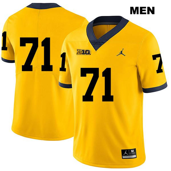 Jordan Michigan Wolverines Legend Andrew Stueber Mens Stitched no. 71 Yellow Authentic College Football Jersey - No Name - Andrew Stueber Jersey