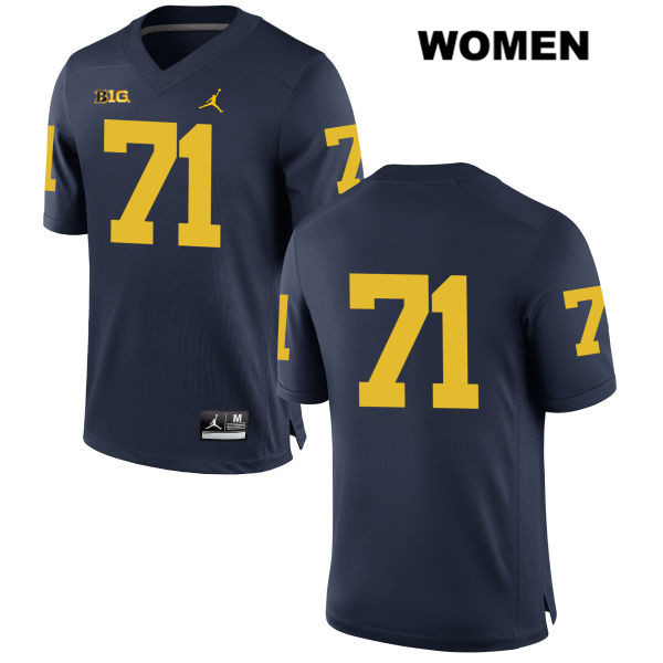 Michigan Wolverines Jordan Andrew Stueber Womens Stitched no. 71 Navy Authentic College Football Jersey - No Name - Andrew Stueber Jersey