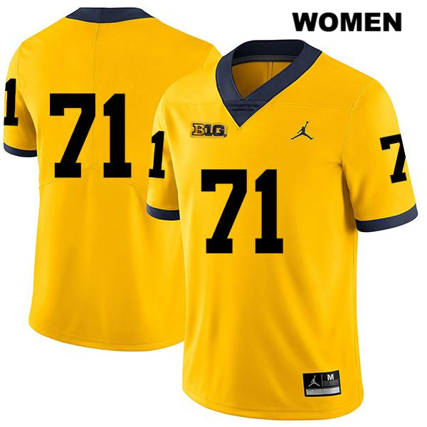 Jordan Michigan Wolverines Legend Stitched Andrew Stueber Womens no. 71 Yellow Authentic College Football Jersey - No Name - Andrew Stueber Jersey
