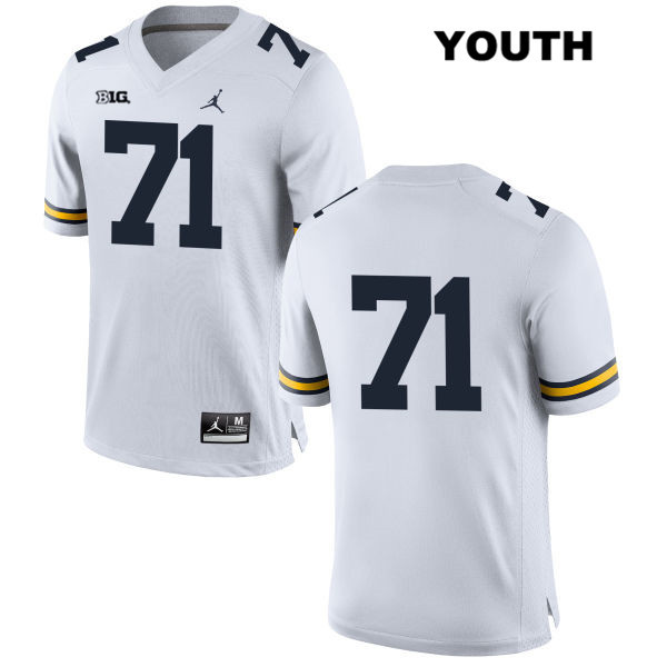 Michigan Wolverines Andrew Stueber Youth no. 71 Stitched Jordan White Authentic College Football Jersey - No Name - Andrew Stueber Jersey