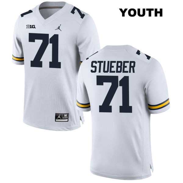 Michigan Wolverines Andrew Stueber Youth no. 71 Jordan White Stitched Authentic College Football Jersey - Andrew Stueber Jersey