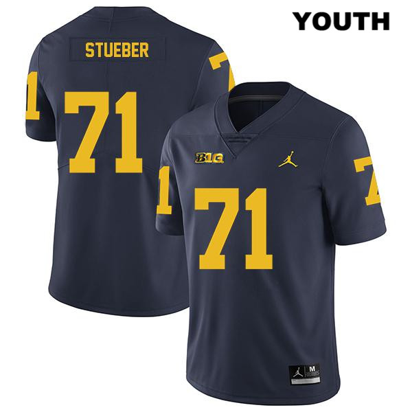 Michigan Wolverines Legend Andrew Stueber Stitched Youth no. 71 Navy Jordan Authentic College Football Jersey - Andrew Stueber Jersey