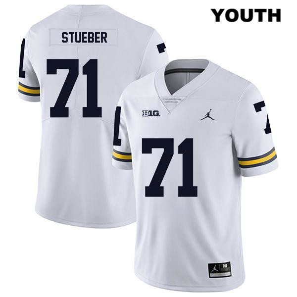 Michigan Wolverines Legend Andrew Stueber Stitched Youth no. 71 Jordan White Authentic College Football Jersey - Andrew Stueber Jersey