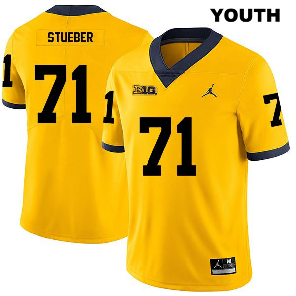 Stitched Michigan Wolverines Legend Andrew Stueber Jordan Youth no. 71 Yellow Authentic College Football Jersey - Andrew Stueber Jersey