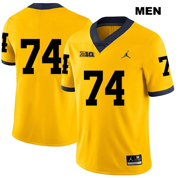 Michigan Wolverines Stitched Ben Bredeson Mens no. 74 Legend Yellow Jordan Authentic College Football Jersey - No Name - Ben Bredeson Jersey
