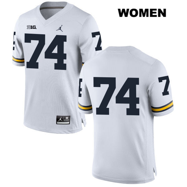Jordan Michigan Wolverines Ben Bredeson Womens Stitched no. 74 White Authentic College Football Jersey - No Name - Ben Bredeson Jersey