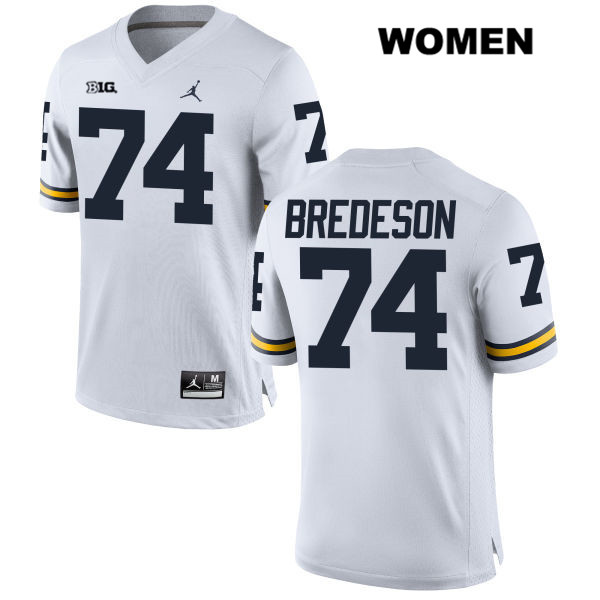 Michigan Wolverines Stitched Ben Bredeson Womens Jordan no. 74 White Authentic College Football Jersey - Ben Bredeson Jersey