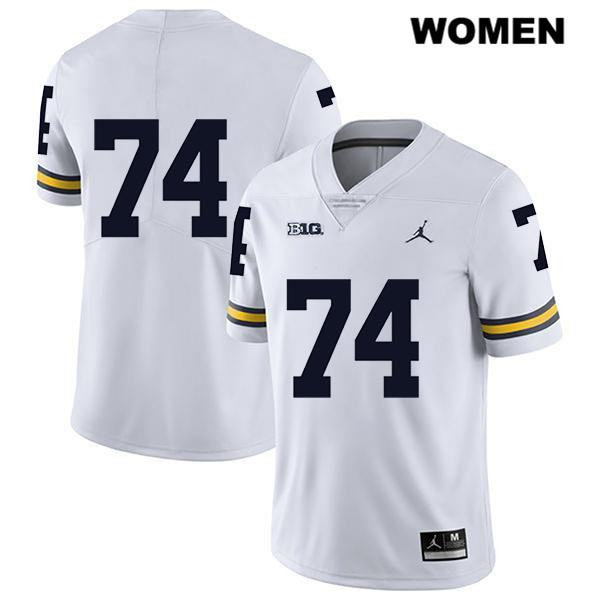 Jordan Michigan Wolverines Stitched Ben Bredeson Legend Womens no. 74 White Authentic College Football Jersey - No Name - Ben Bredeson Jersey