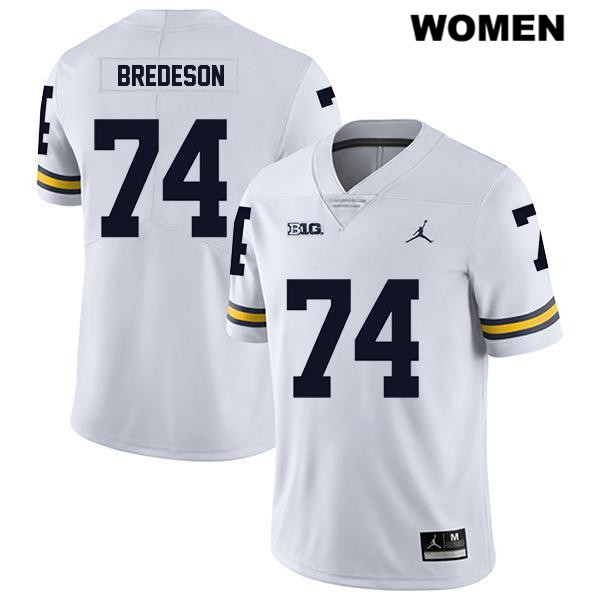 Stitched Michigan Wolverines Jordan Ben Bredeson Womens Legend no. 74 White Authentic College Football Jersey - Ben Bredeson Jersey