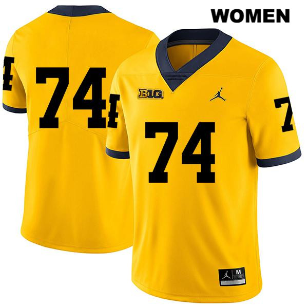 Stitched Michigan Wolverines Jordan Ben Bredeson Legend Womens no. 74 Yellow Authentic College Football Jersey - No Name - Ben Bredeson Jersey