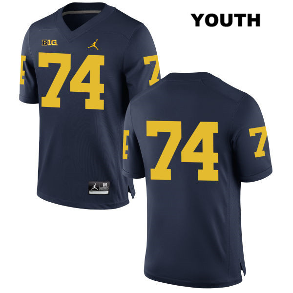 Michigan Wolverines Ben Bredeson Youth no. 74 Navy Jordan Stitched Authentic College Football Jersey - No Name - Ben Bredeson Jersey