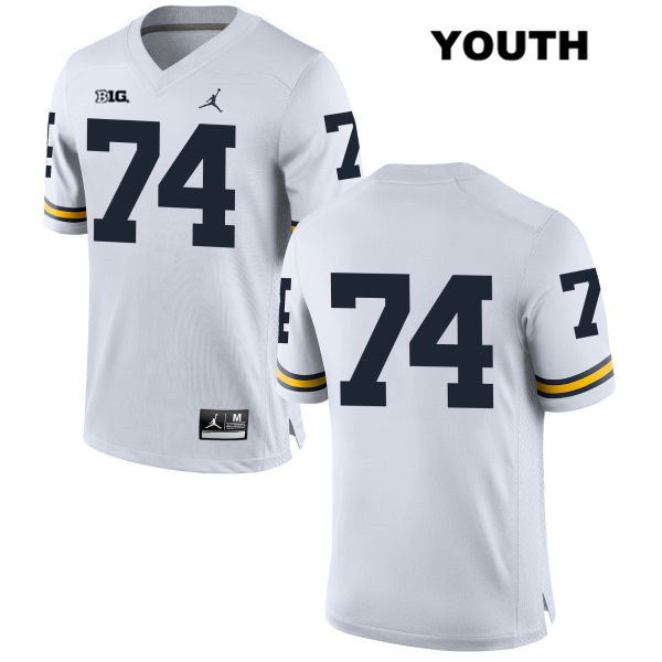 Michigan Wolverines Ben Bredeson Youth Stitched no. 74 White Jordan Authentic College Football Jersey - No Name - Ben Bredeson Jersey
