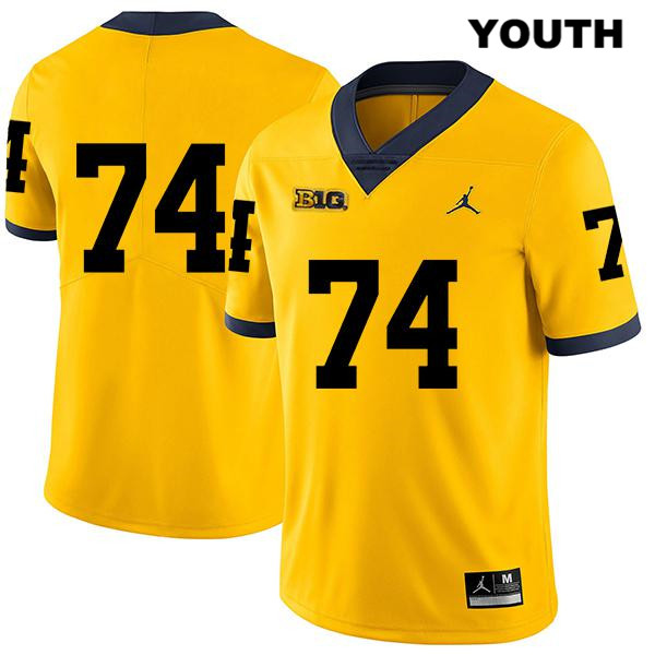 Michigan Wolverines Ben Bredeson Stitched Youth no. 74 Jordan Legend Yellow Authentic College Football Jersey - No Name - Ben Bredeson Jersey