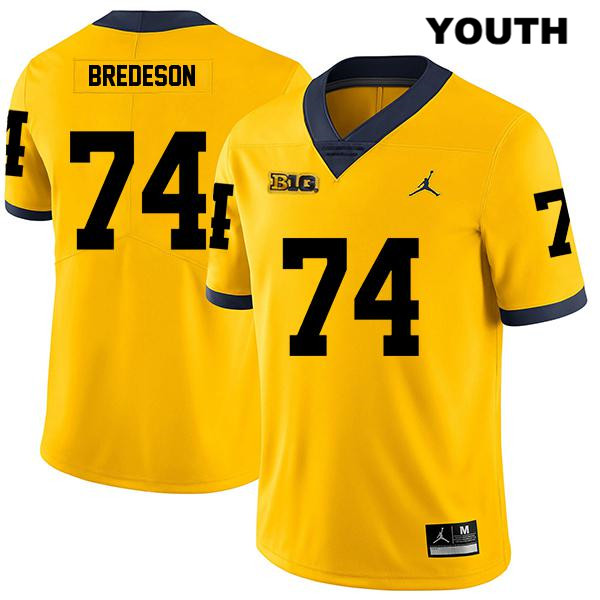 Michigan Wolverines Jordan Ben Bredeson Stitched Youth no. 74 Yellow Legend Authentic College Football Jersey - Ben Bredeson Jersey