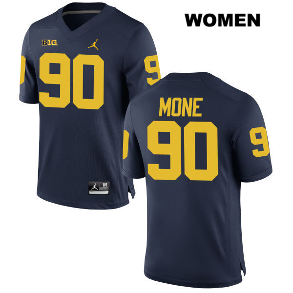 Jordan Michigan Wolverines Bryan Mone Womens no. 90 Stitched Navy Authentic College Football Jersey - Bryan Mone Jersey