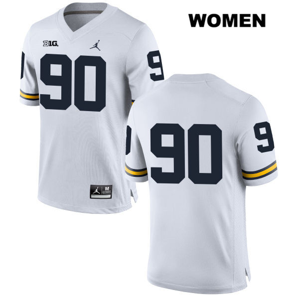 Jordan Michigan Wolverines Bryan Mone Womens Stitched no. 90 White Authentic College Football Jersey - No Name - Bryan Mone Jersey