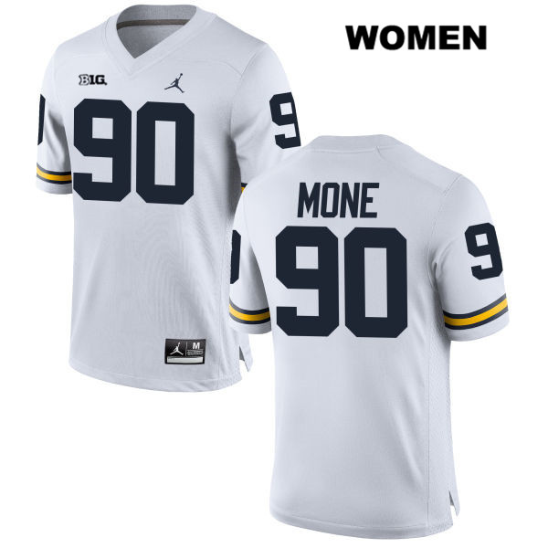 Michigan Wolverines Stitched Bryan Mone Jordan Womens no. 90 White Authentic College Football Jersey - Bryan Mone Jersey