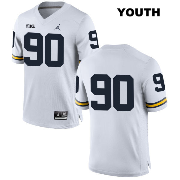 Michigan Wolverines Bryan Mone Youth Stitched Jordan no. 90 White Authentic College Football Jersey - No Name - Bryan Mone Jersey
