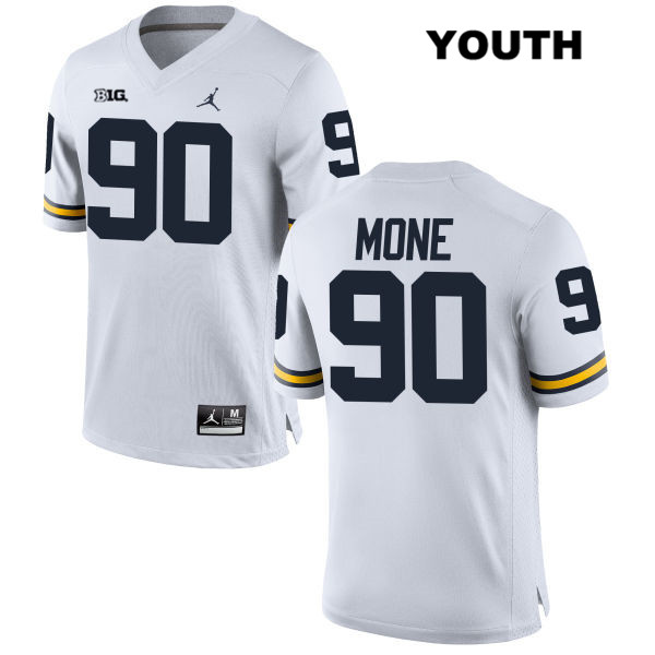 Michigan Wolverines Jordan Bryan Mone Youth no. 90 White Stitched Authentic College Football Jersey - Bryan Mone Jersey