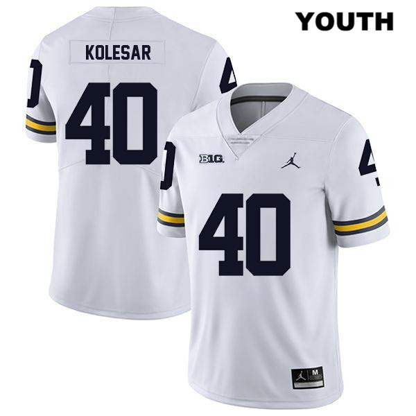 Michigan Wolverines Caden Kolesar Jordan Legend Youth Stitched no. 40 White Authentic College Football Jersey