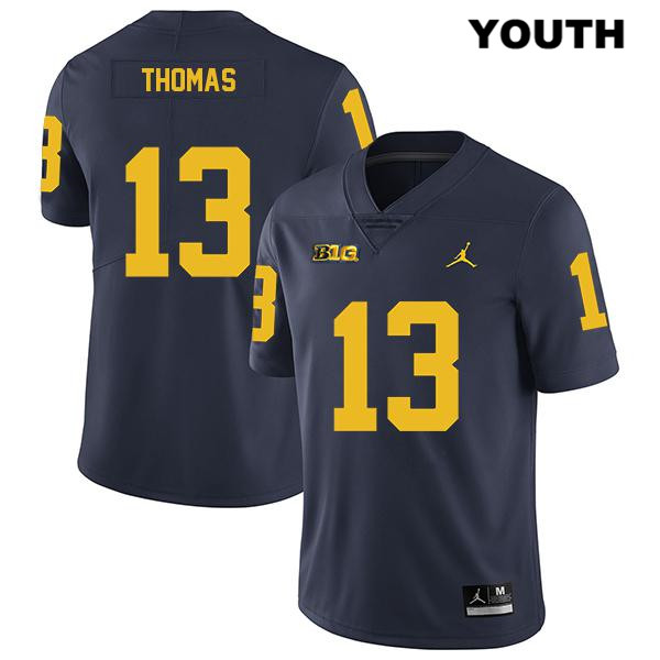 Michigan Wolverines Charles Thomas Jordan Youth no. 13 Legend Stitched Navy Authentic College Football Jersey - Charles Thomas Jersey
