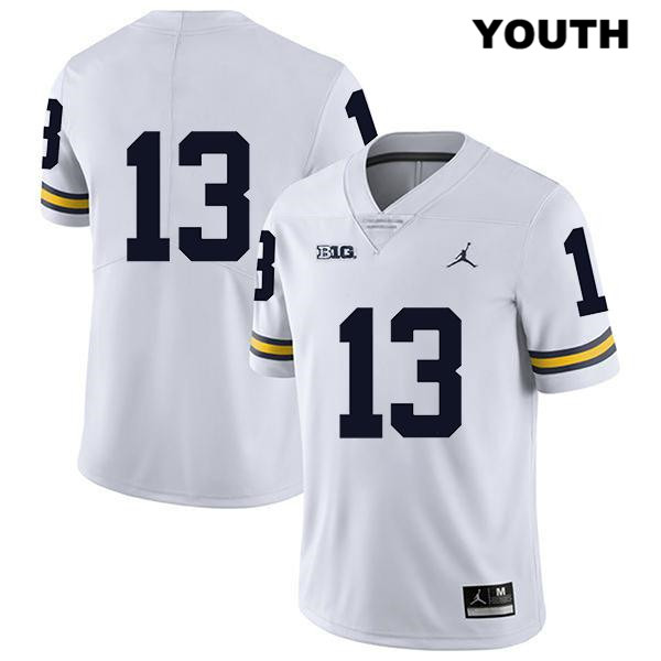Legend Michigan Wolverines Stitched Charles Thomas Youth Jordan no. 13 White Authentic College Football Jersey - No Name - Charles Thomas Jersey
