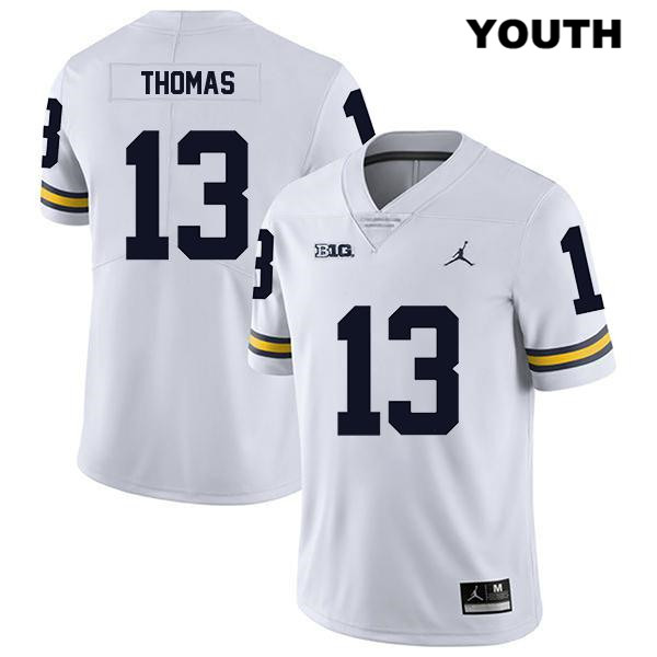 Michigan Wolverines Charles Thomas Stitched Jordan Youth Legend no. 13 White Authentic College Football Jersey - Charles Thomas Jersey