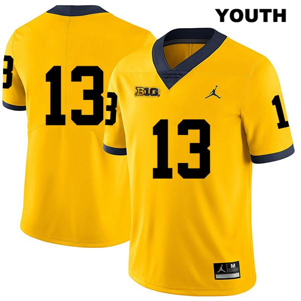 Michigan Wolverines Charles Thomas Stitched Youth Legend no. 13 Yellow Jordan Authentic College Football Jersey - No Name - Charles Thomas Jersey