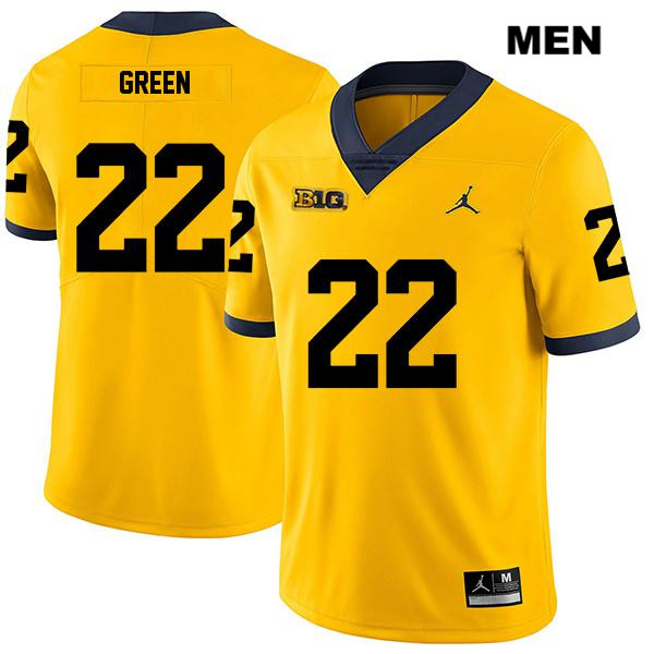 Michigan Wolverines Gemon Green Jordan Mens Legend no. 22 Stitched Yellow Authentic College Football Jersey - Gemon Green Jersey