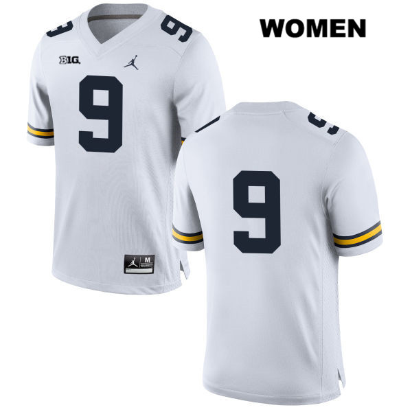 Michigan Wolverines Gemon Green Stitched Womens no. 9 White Jordan Authentic College Football Jersey - No Name - Gemon Green Jersey