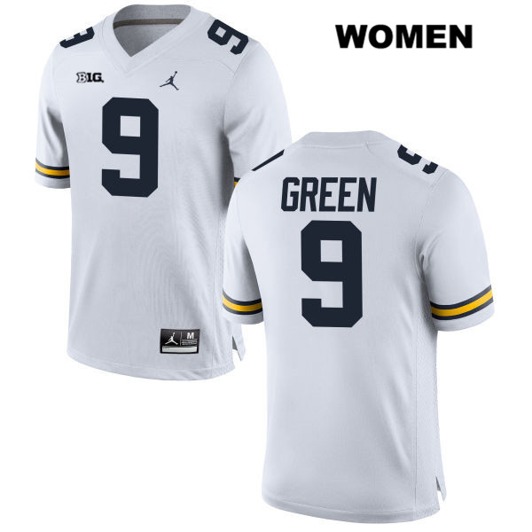 Stitched Michigan Wolverines Gemon Green Womens no. 9 Jordan White Authentic College Football Jersey - Gemon Green Jersey