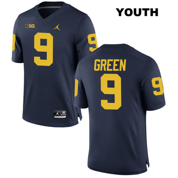 Michigan Wolverines Gemon Green Stitched Youth no. 9 Navy Jordan Authentic College Football Jersey - Gemon Green Jersey